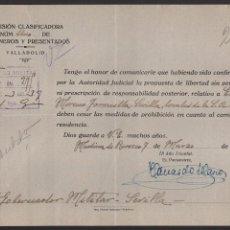 Militaria: VALLADOLID, PUESTA EN LIBERTAD Y TRASLADO A LOCALES DE S.A. CROS,-SEVILLA-,PRISIONEROS Y PRESENTADOS. Lote 105048619