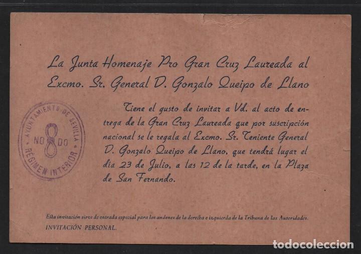 SEVILLA, HOMENAJE PRO GRAN LAUREADA AL GENERAL: GONZALO QUEIPO DE LLANOS, VER FOTO (Militar - Guerra Civil Española)