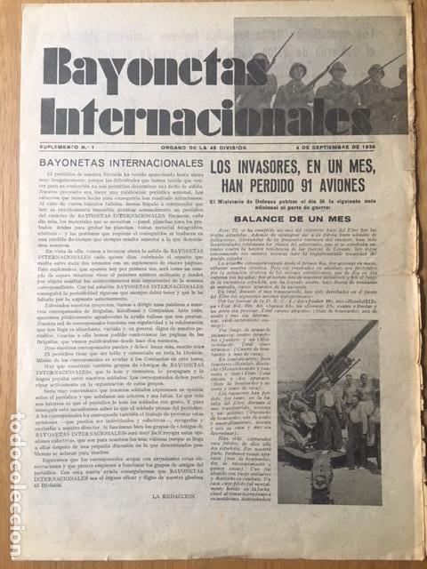 RARÍSIMA, BAYONETAS INTERNACIONALES. ORGANO 45 DIVISIÓN BRIGADAS INTERNACIONALES, 1938, GUERRA CIVIL (Militar - Guerra Civil Española)