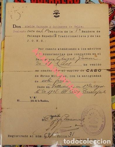 1938, NOMBRAMIENTO CABO 1ª CENTURIA 8ª BANDERA DE FALANGE (Militar - Guerra Civil Española)