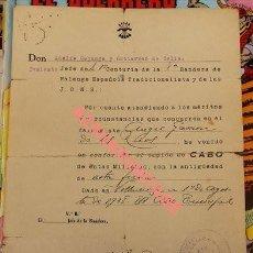 Militaria: 1938, NOMBRAMIENTO CABO 1ª CENTURIA 8ª BANDERA DE FALANGE. Lote 107715319