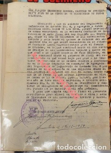 SEVILLA, 1939,. CERTIFICADO HISTORIAL DE MILICIANO DE FALANGE (Militar - Guerra Civil Española)