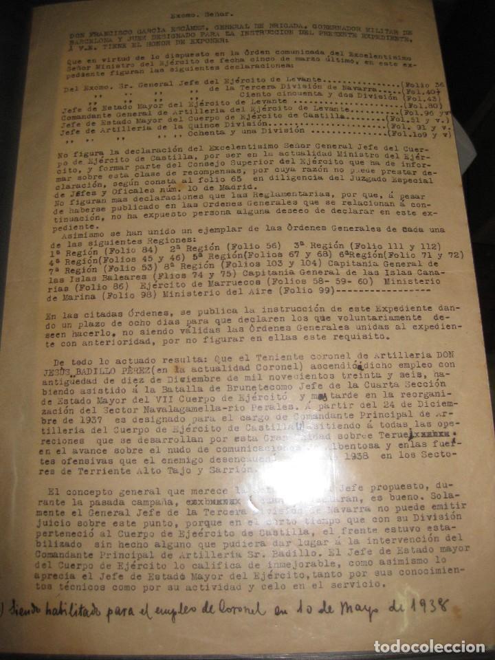 RECOMPENSAS ASCENSOS POR SERVICIOS EN GUERRA CIVIL CORONEL JESUS BADILLO BATALLA BRUNETE DE TERUEL (Militar - Guerra Civil Española)