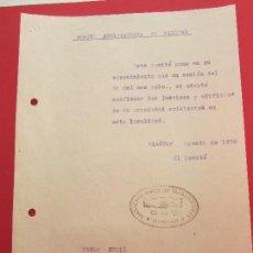 Militaria: COMITE ANTIFASCISTA DE BINEFAR , AGOSTO 1936 , SINDICATO UNICO DE TRABAJADORES CNT , GUERRA CIVIL. Lote 108880751