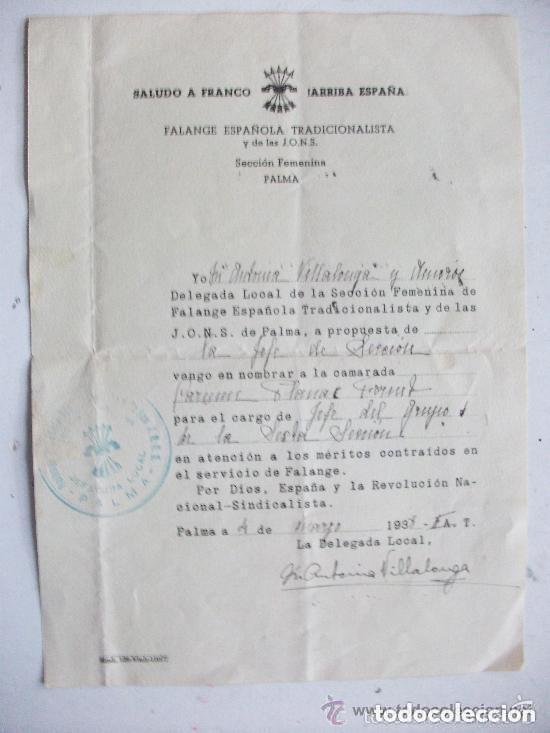 GUERRA CIVIL - SECCION FEMENINA FALANGE : NOMBRAMIENTO DE JEFA DE GRUPO. PALMA, 1938 (Militar - Guerra Civil Española)