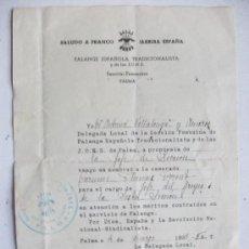 Militaria: GUERRA CIVIL - SECCION FEMENINA FALANGE : NOMBRAMIENTO DE JEFA DE GRUPO. PALMA, 1938. Lote 110436455