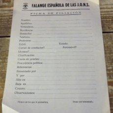 Militaria: GUERRA CIVIL, FICHA DE FILIACION DE FALANGE EN BLANCO, REVERSO JURAMENTO,. Lote 110527847