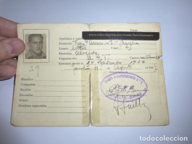 * ANTIGUO CARNET REPUBLICANO ORIGINAL DE MILITAR AFILIADO UGT DE GANDIA. VALENCIA. GUERRA CIVIL. ZX (Militar - Guerra Civil Española)