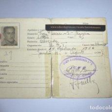 Militaria: * ANTIGUO CARNET REPUBLICANO ORIGINAL DE MILITAR AFILIADO UGT DE GANDIA. VALENCIA. GUERRA CIVIL. ZX. Lote 111898919