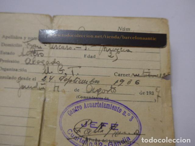 Militaria: * Antiguo carnet republicano original de militar afiliado UGT de Gandia. Valencia. Guerra civil. ZX - Foto 5 - 111898919