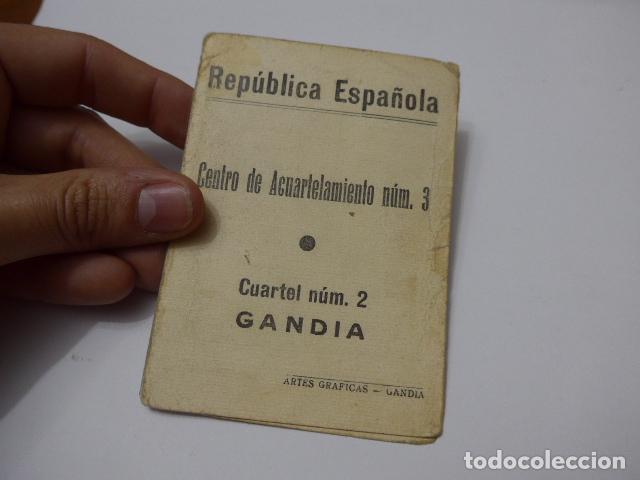 Militaria: * Antiguo carnet republicano original de militar afiliado UGT de Gandia. Valencia. Guerra civil. ZX - Foto 6 - 111898919