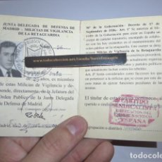 Militaria: * ANTIGUO CARNET REPUBLICANO, MILICIAS VIGILANCIA RETAGUARDIA. JUNTA DEFENSA MADRID. GUERRA CIVIL ZX. Lote 111903631