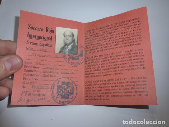 * ANTIGUO CARNET REPUBLICANO ORIGINAL DE BRIGADAS INTERNACIONALES, ITALIA. SRI. GUERRA CIVIL. ZX (Militar - Guerra Civil Española)