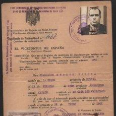 Militaria: SAINT-ETIENNE, VICECONSULADO DE ESPAÑA, LA UNION- MURCIA- SELLOS, 2 DE 50 CTS Y DOS 1 PTAVER FOTOS. Lote 112162363