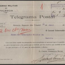 Militaria: TELEGRAMA POSTAL, -PALENCIA- DIVISION FLECHAS-1938, VER FOTOS. Lote 112397963
