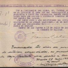 Militaria: HUELVA, -MILICIAS NACIONALES- PERMISO PARA GIBRALEON.- VER FOTO. Lote 112606339