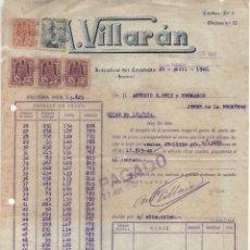 Militaria: BOLLULLOS DEL CONDADO, FACTURA: ANTONIO VILLARAN, ABRIL 1940, VER FOTO. Lote 112688803