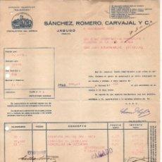 Militaria: JABUGO-(HUELVA) FACTURA: SANCHEZ ROMERO CARBAJAL, A SOC. COOP. EMPLEADOS DE LA MINA DE CALA, VER FOT. Lote 112689011