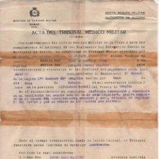 Militaria: BILBAO- ACTA TRIB. MEDICO, HERIDO DE BALA 12 DE FEBRERO 1938,- EN EL FRENTE DE ARAGON: ALFAL(TERUEL). Lote 112691563