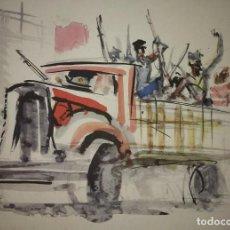 Militaria: ESTAMPA DE LA REVOLUCIÓN ESPAÑOLA POR SIM 1936 GUERRA CIVIL. C.N.T. F.A.I. LÁMINA DEL LIBRO. Lote 116175435