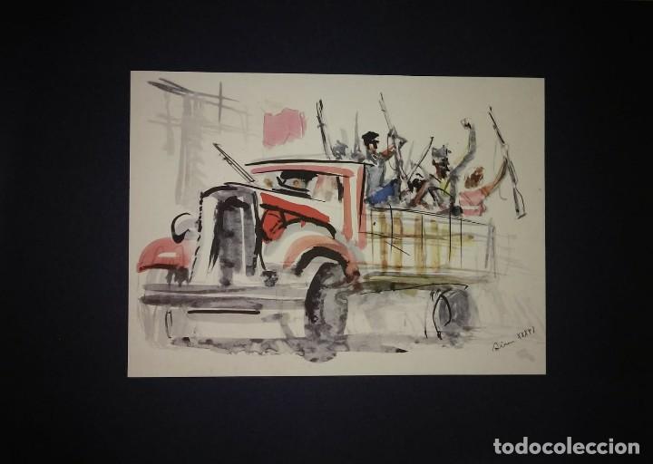 Militaria: Estampa de la revolución Española por Sim 1936 Guerra Civil. C.N.T. F.A.I. Lámina del libro - Foto 2 - 116175435