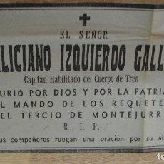 Militaria: ESQUELA GUERRA CIVIL - CAPITAN DE LOS REQUETES DEL TERCIO DE MONTEJURRA. Lote 116234571