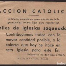 Militaria: SALAMANCA, COLECTA PARA IGLESIAS SAQUEADAS, MIDE: 16 X 11 C.M. VER FOTO. Lote 119063939