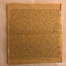 Militaria: BURGOS. DISCURSO MECANOGRAFÍADO POR UN BURGALES, LOS POSTRERO DIAS DEL ALZAMIENTO (A.1939?). Lote 119144567