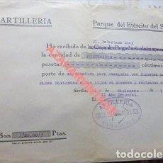 Militaria: SEVILLA,1937, GUERRA CIVIL, EJERCITO DEL SUR, DONATIVO PARA HIJOS DE OBREROS PARQUE DE ARTILLERIA. Lote 119467027