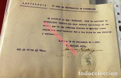 SEVILLA,1937, GUERRA CIVIL, DONATIVO PARA HIJOS DE OBREROS SERVIC.RECUPERACION AUTOMOVILISMO (Militar - Guerra Civil Española)