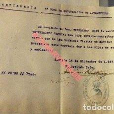 Militaria: SEVILLA,1937, GUERRA CIVIL, DONATIVO PARA HIJOS DE OBREROS SERVIC.RECUPERACION AUTOMOVILISMO. Lote 119467219