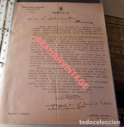 SEVILLA, 1937,FALANGE, DIARIO F.E., CARTA COMUNICACION SUSCRIPCION NUEVO ACORAZADO ESPAÑA, MUY RARA (Militar - Guerra Civil Española)
