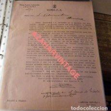Militaria: SEVILLA, 1937,FALANGE, DIARIO F.E., CARTA COMUNICACION SUSCRIPCION NUEVO ACORAZADO ESPAÑA, MUY RARA. Lote 119468203