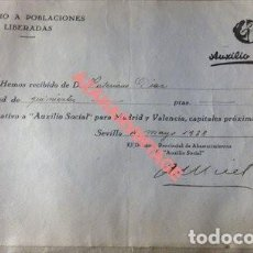 Militaria: SEVILLA,1938, GUERRA CIVIL, DONATIVO AUXILIO A POBLACIONES LIBERADAS,AUXILIO SOCIAL, RARA. Lote 119470471