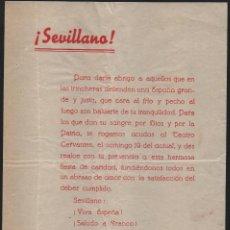 Militaria: SEVILLANO! PARA DARLE ABRIGO AQUELLOS QUE EN LA TRINCHERA DEFIENDEN A ESPAÑA..MIDE: 22X15 C.M.. Lote 121966463