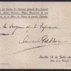 Militaria: SEVILLA, 18 DE JULIO 1939,CAJA DONDE ESTUVO OCULTA, AUTOGRAFO, QUEIPO DE LLANOS, LEVE CORTE-VER FOTO. Lote 125054399