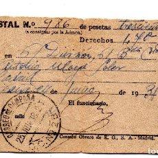 Militaria: GIRO POSTAL 6 DIVISIÓN 61 BATALLÓN COMPAÑIA DEPOSITO,TAMPÓN CORREO DE CAMPAÑA 1938. Lote 125348967