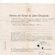 Militaria: PETICIÓN DEL CARNET DE LIBRE CIRCULACIÓN. GIJÓN. 1937. ASTURIAS. GUERRA CIVIL. Lote 125379195