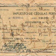 Militaria: LLORET DE MAR (GERONA) - IMPUESTO DE CÉDULAS PERSONALES AÑO 1938. Lote 126039047
