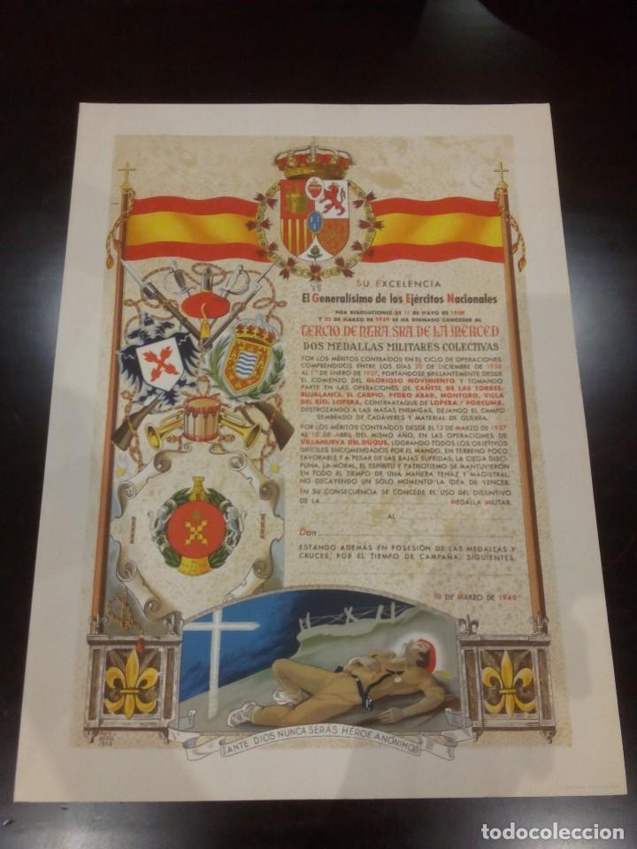 DIPLOMA DE LA CONCESIÓN DE DOS MEDALLAS COLECTIVAS AL TERCIO REQUETÉ NTRA. SRA. DE LA MERCED (Militar - Guerra Civil Española)