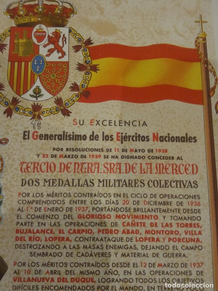 Militaria: DIPLOMA DE LA CONCESIÓN DE DOS MEDALLAS COLECTIVAS AL TERCIO REQUETÉ NTRA. SRA. DE LA MERCED - Foto 4 - 165017765