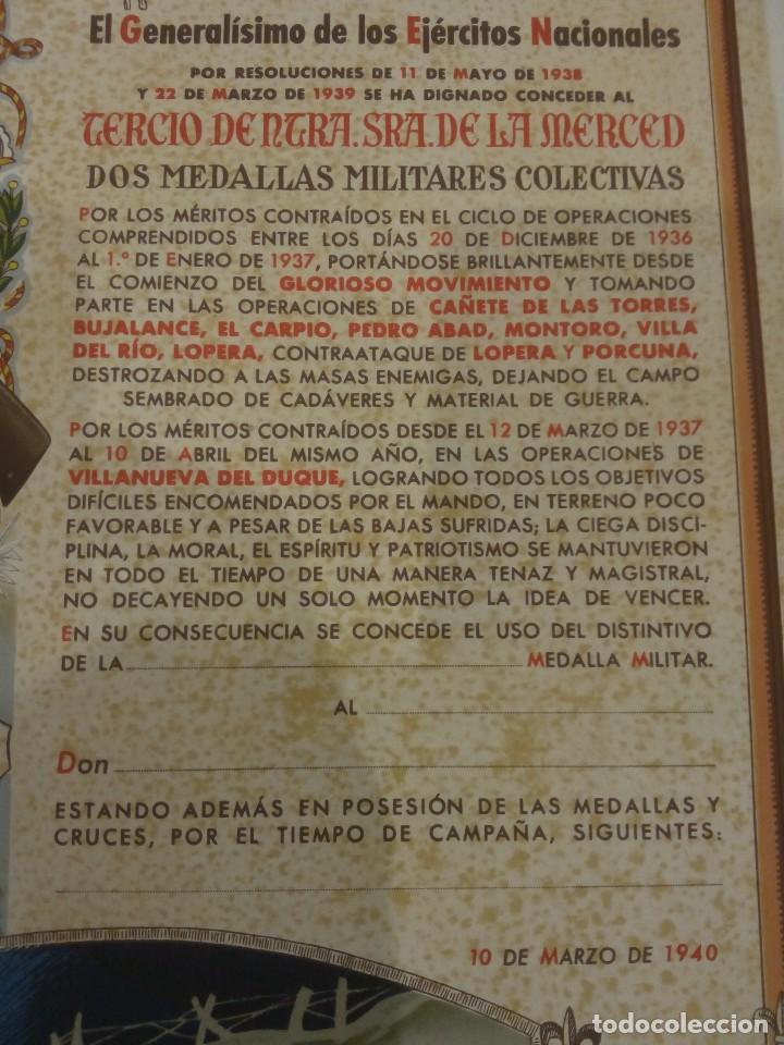 Militaria: DIPLOMA DE LA CONCESIÓN DE DOS MEDALLAS COLECTIVAS AL TERCIO REQUETÉ NTRA. SRA. DE LA MERCED - Foto 5 - 165017765