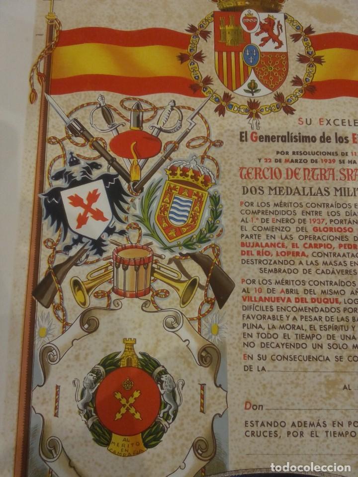 Militaria: DIPLOMA DE LA CONCESIÓN DE DOS MEDALLAS COLECTIVAS AL TERCIO REQUETÉ NTRA. SRA. DE LA MERCED - Foto 6 - 165017765