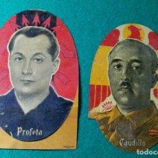 Militaria: ANTIGUA PAREJA DE CHAPAS LITOGRAFIADAS, FRANCISCO FRANCO Y JOSE ANTONIO PRIMO, AÑOS 40. Lote 127172283