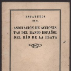 Militaria: BARCELONA, ESTATUTOS, ASOCIACION DE ACCIONISTAS DEL BANCO ESPAÑOL DEL RIO DE LA PLATA, AÑO 1939, VER. Lote 127552179