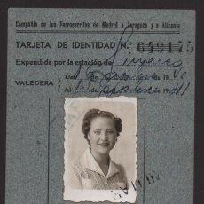 Militaria: MADRID, TARJETA DE IDENTIDAD, FERROCARRILES MADRID,ZARAGOZA Y ALICANTE, VER FOTOS. Lote 127553087