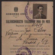 Militaria: SALVOCONDUCTO- LA LINEA -CADIZ- A MADRID, VER FOTOS. Lote 127553231