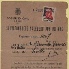 Militaria: SALVOCONDUCTO- SAN FERNANDO-CADIZ- A SEVILLA, , VER FOTOS. Lote 127553339
