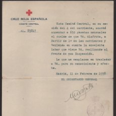 Militaria: MADRID, CRUZ ROJA, COMITE CENTRAL,FIRMADO:EL SECRETARIO GENERAL.- AUMENTO SUELDO, AÑO 1938, VER F0TO. Lote 128778987