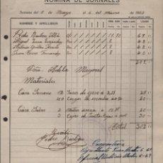 Militaria: MALAGA, -NOMINA Y JORNALES- JUNTA INTERVENCION DE OPERACIONES, AÑO 1937, VER FOTO. Lote 129560955